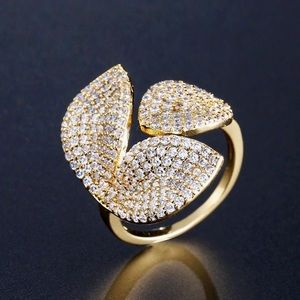 Jewelry - Austrian Crystal Pave Open Petal Ring Adjustable